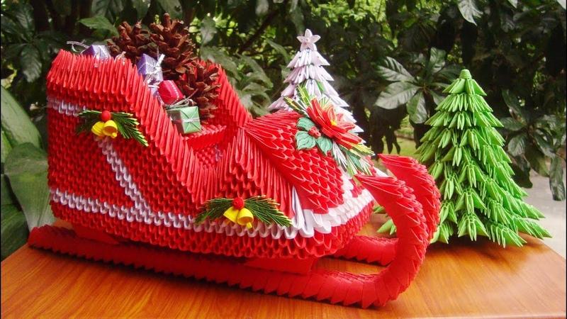 3D Origami Santa Claus Sleigh V2 | DIY Paper Sleigh Christmas Ornament