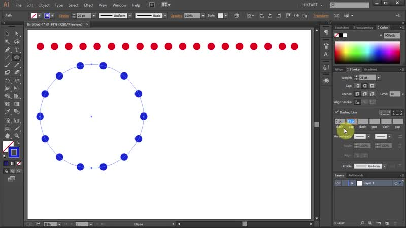 [1][120.60 F] how to make a dotted lines in adobe illustrator