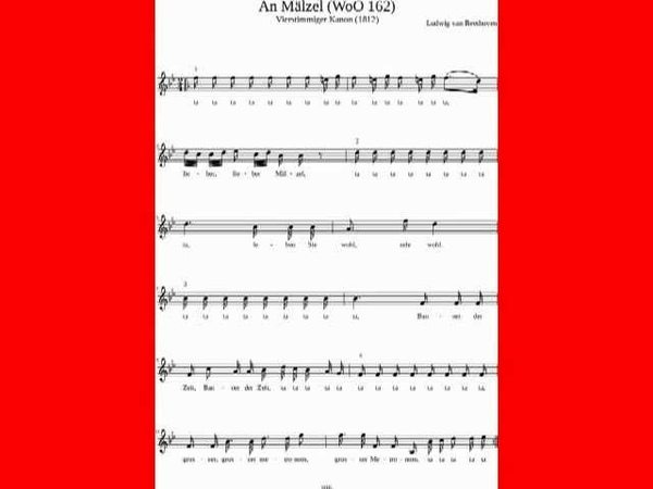 Ludwig van Beethoven An Mälzel Vierstimmiger Kanon WoO 162
