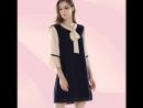 Tied Neck Lace Cuff and Hem Loose Mini Dress