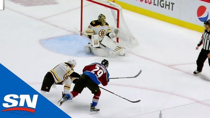Nathan MacKinnon Beats Jaroslav Halak Glove Side After Mikko Rantanen Starts Rush