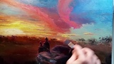 Sunset in the Goldfields - How to - Oil Painting - Palette Knife Brush - Bush Outback Dusan