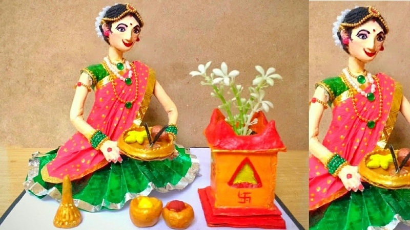 Beautiful Doll | Tulsi Vivah Lady | How To Make | Newspaper Doll Making | DIY | By Punekar Sneha