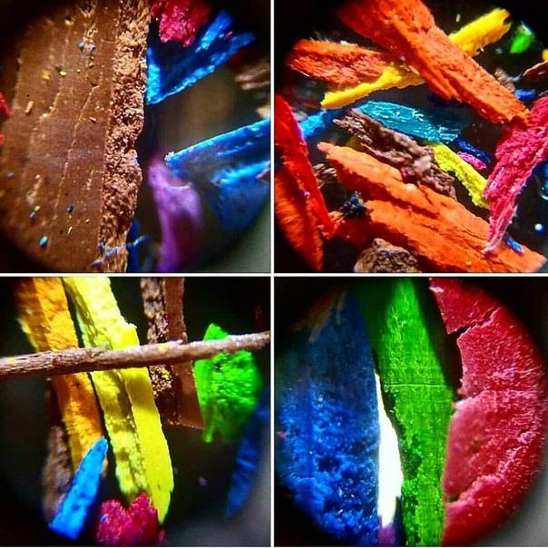 Грифели цветных карандашей под микроскопом