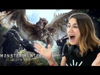 Ира не умеет, но пробует играть в monster hunter: world
