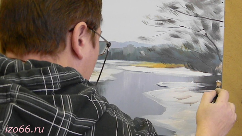 Коротенький видео сеанс по масляной живописи автор Дмитрий Муравьев ЗИМНИЙ РУЧЕЙ