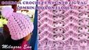 Gorro a crochet en punto ZIG ZAG para niñas combinado con FLORES PEQUEÑAS paso a paso