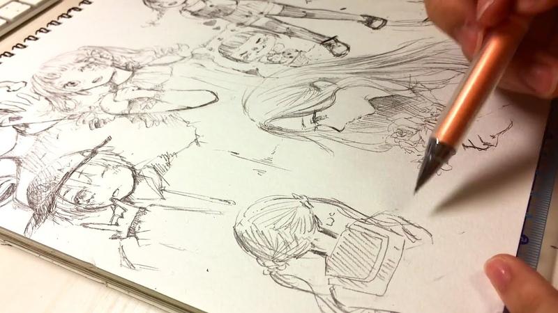 【アナログ】自由に〜女の子たち描いてみた🍊【1ページ】
