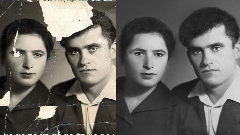 Реставрация фото в Photoshop Old damaged photo Restoration
