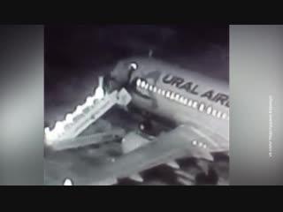 Шесть человек упали с трапа самолета в аэропорту Барнаула