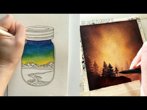 Drawing watercolor paint space galaxy starry sky leaves and other рисования акварелью рисуем космос