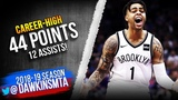 D'Angelo Russell Career-HiGH 44 Pts 4th Quarter TAKEOVER! 2019.03.19 Nets vs Kings FreeDawkins