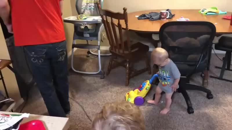 15 month old Samuel Dillard vacuums with his dad-October 2018.mp4