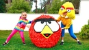 Alisa and Huge surprise ball with angry birds toys