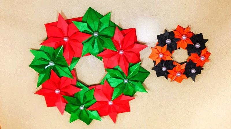 クリスマス&ハロウィン折り紙 ポインセチアの本格リースの作り方35500