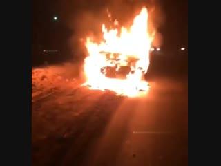 Сегодня утром около г. Благовещенска сгорела машинка