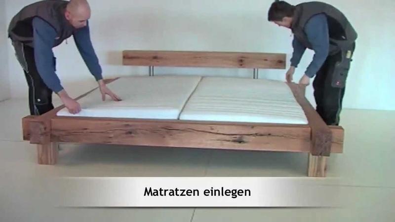 Montage Aufbau des Massivholzbettes Mammut Sumpfeiche von MÖBEL EINS