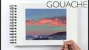 Gouache Sketchbook Painting Timelapse - Evening Stars
