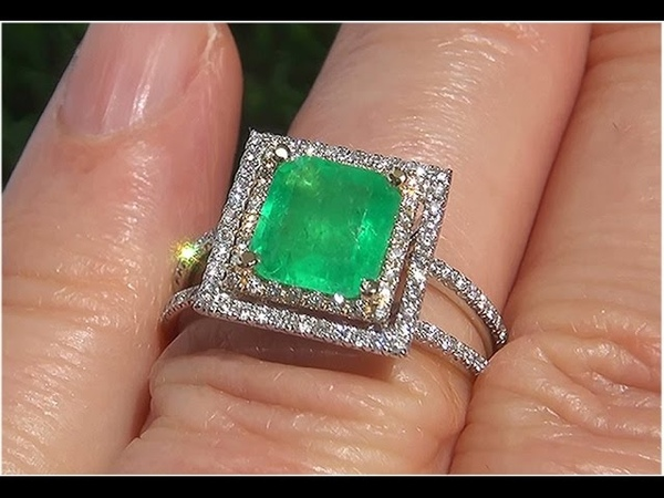 Certified Jewelry Natural Colombian Emerald Diamond 14k Multi Gold Cocktail Estate Ring - C784