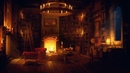 Ancient Library Room - Relaxing Thunder Rain Sounds, Crackling Fireplace