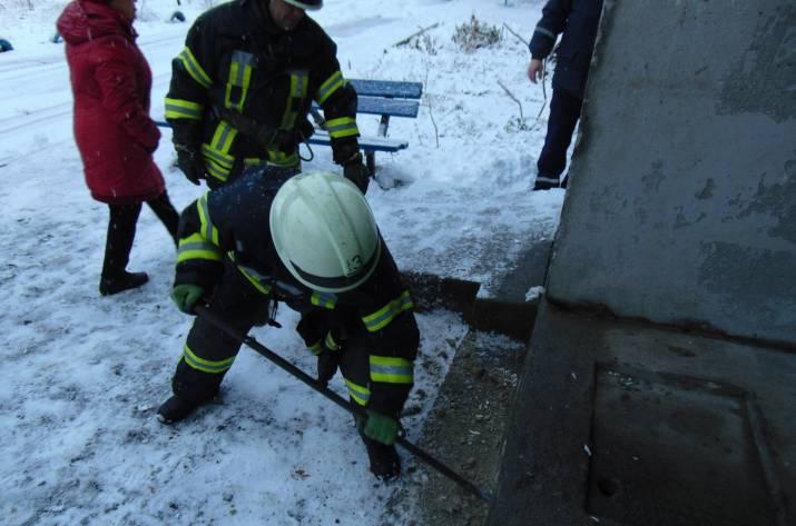 В Рубежном спасатели вытащила щенка с под плиты