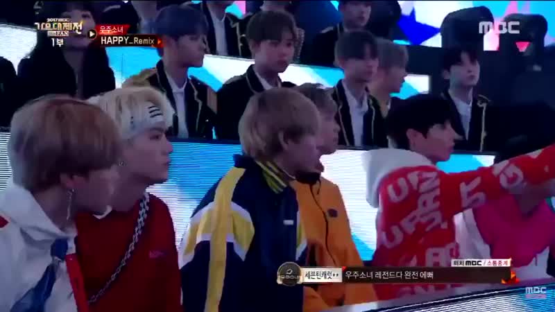 The cameraman wouldn't stop focusing on BTS while other groups were performing so Jungkook