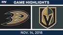 NHL Highlights Ducks vs Golden Knights Nov 14 2018