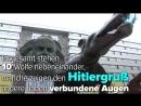 Hitlergruß zeigende Bronzewölfe vor Karl-Marx-Statue in Chemnitz