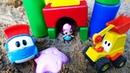 Грузовичок Лева и экскаватор Макс строят домик для куклы Лол. Видео на английском языке.