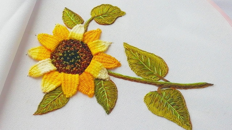 Еmbroidery Sunflower woven picot stitch Цветочная вышивка Подсолнух