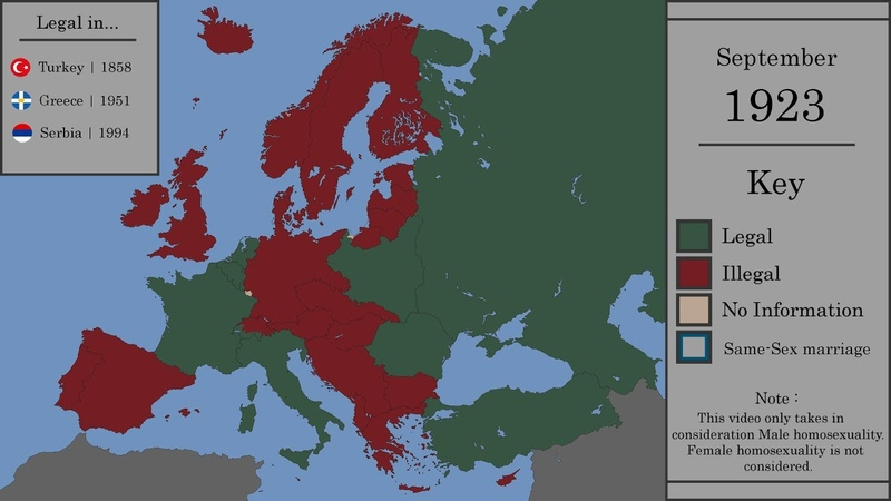 The Legalization of Homosexuality in Europe : Every Month