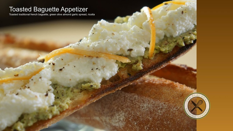 Toasted Baguette, Green Olive Garlic Ricotta – Bruno Albouze – THE REAL DEAL
