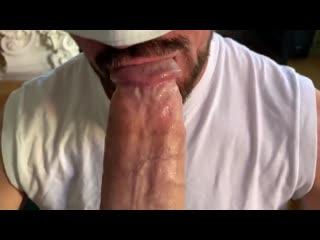 Hungry dilf on his knees servicing hung jocks huge tool