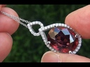 GIA Certified VVS Near Flawless Natural Red Zircon Diamond 18k White Gold Pendant Necklace A313