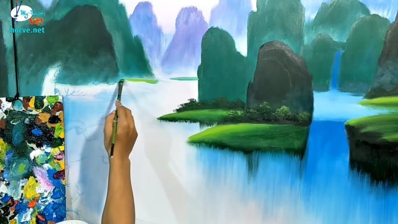 Dạy vẽ tranh sơn thủy online khóa k5 p2 Liên hệ mua trọn bộ video ở link bên dưới phần mô tả