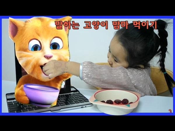 말하는 고양이 맘마 먹이기 토킹톰 간식먹기 장난감놀이 토킹톰앤프렌즈 Toy 52