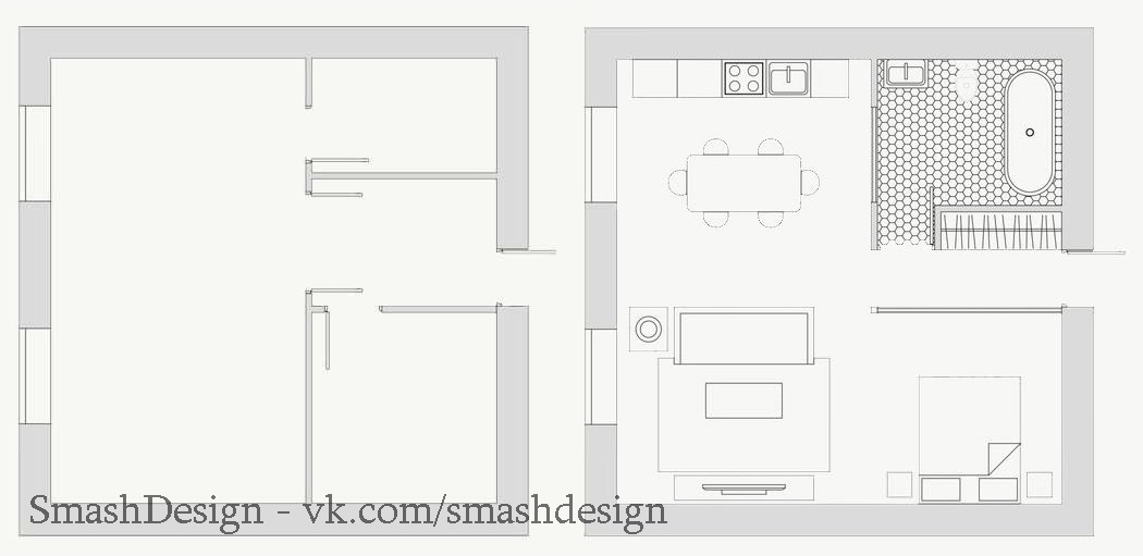 Небольшая квартира созданная под влиянием сканди, эко и кантри стилей, площадь 49 кв.
