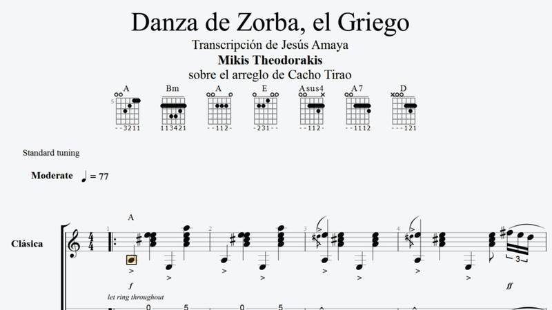 Zorba el Griego - Cacho Tirao - Tablatura para Guitarra Solista...