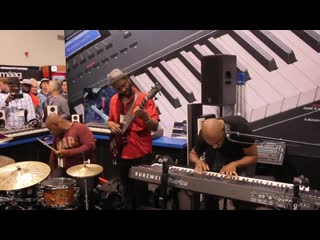 "Myron mckinley, ian martin & stacey lamont sydnor ""e-12"" kurzweil booth at the namm show 2016 - awesome !! myron mckinley trio &"