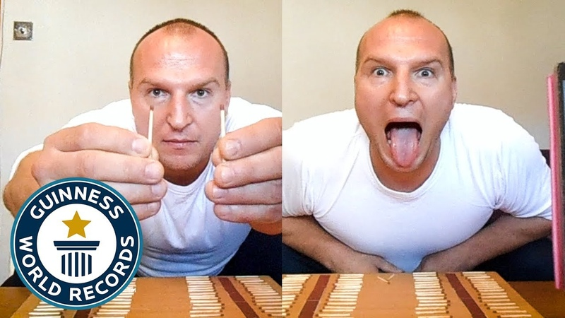 Most matchsticks extinguished on the tongue in one minute Guinness World Records