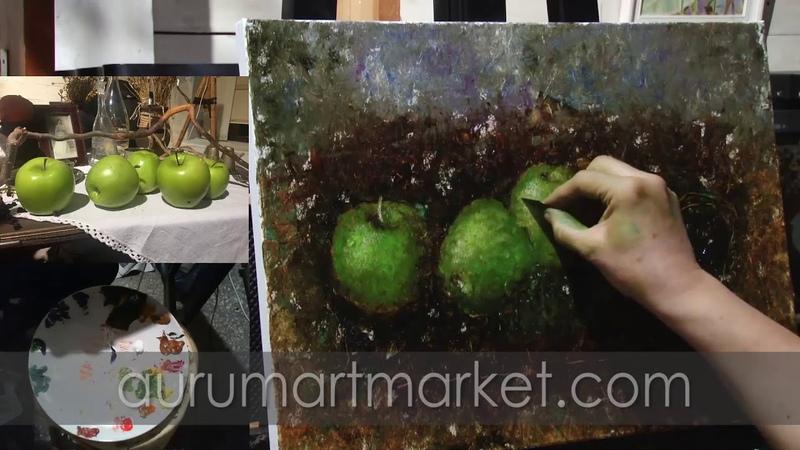 Пять зеленых яблочек - как нарисовать яблоки маслом