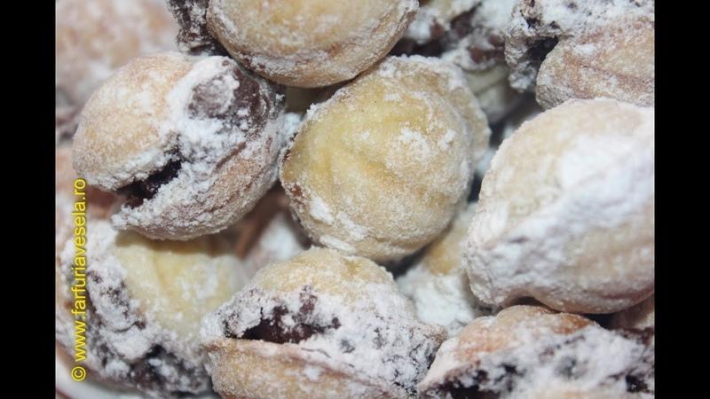Румынское печенье Орешки с аммонием, со сливочно- шоколадным кремом | Nuci cu crema | Farfuria vesela