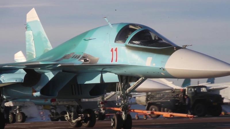 Стрельба экипажей Су-34 и Су-25 по наземным целям на отборочном этапе конкурса «Авиадартс-2019»