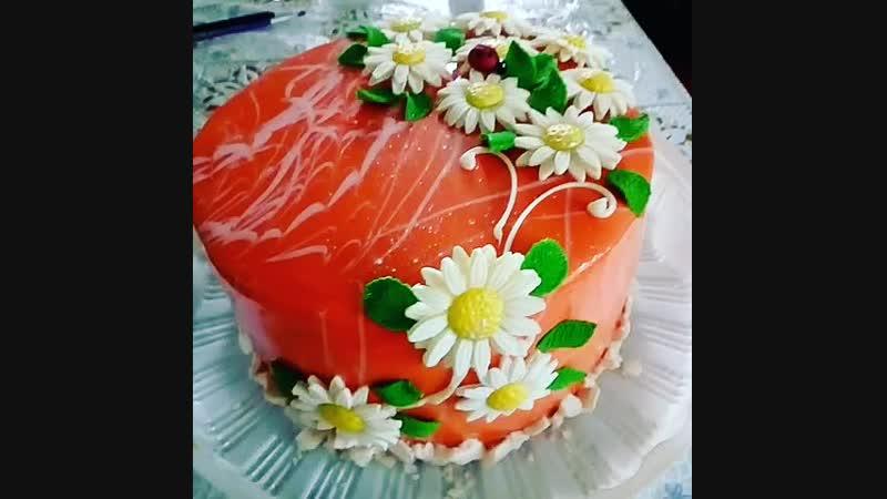 Изумительный торт безе с зеркальной глазурью!