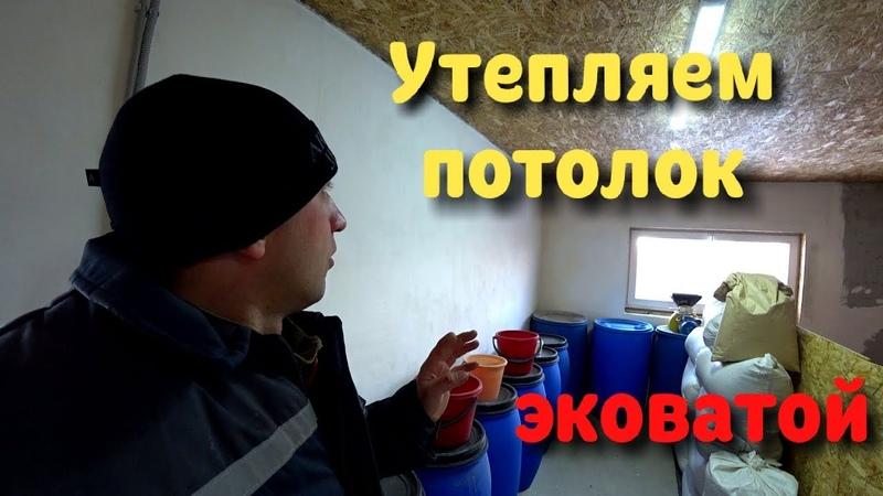Утеплил потолок эковатой ручной метод Сарай к зиме готов