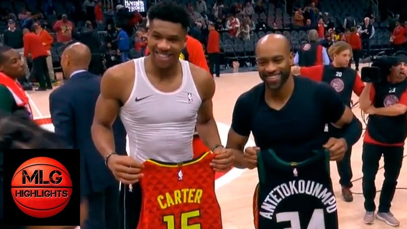 Giannis Antetokounmpo Vince Carter Swap Jerseys | Bucks vs Hawks