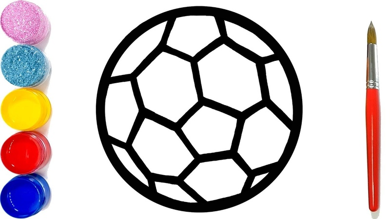 Glitter Soccer ball , football coloring pages Learn Colors for kids | Jolly Toy Art ☆