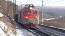 Электровоз ВЛ10 617 с Лютым тифоном и встречный ЭП2К 104 с пассажирским поездом
