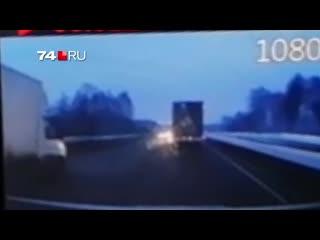 Момент ДТП на трассе М-5