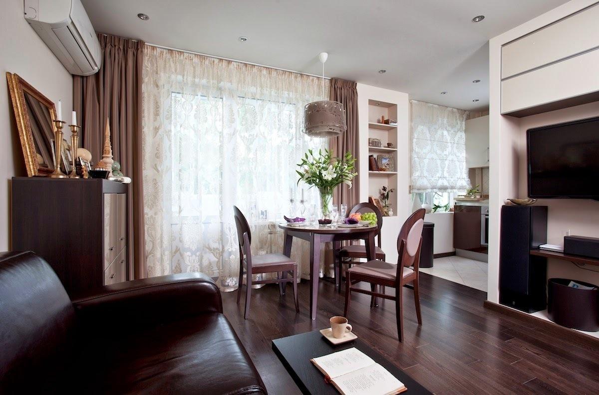 Интерьер квартиры-студии с кроватью в нише, 33 кв.